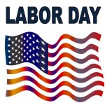 Labor Day text with American flag