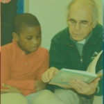 Adult reading with child