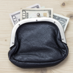 coin purse with money bills