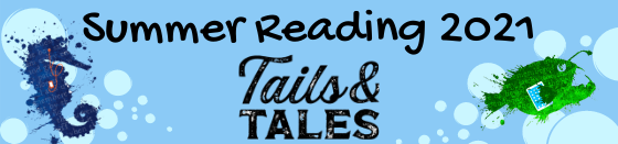 Summer Reading 2021 Tails and Tales with angler fish and seahorse